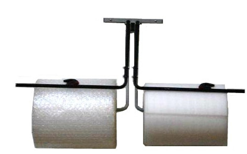 """12"""" Double Arm Wall Rack with Slide Cutter for Packaging Material Rolls"""