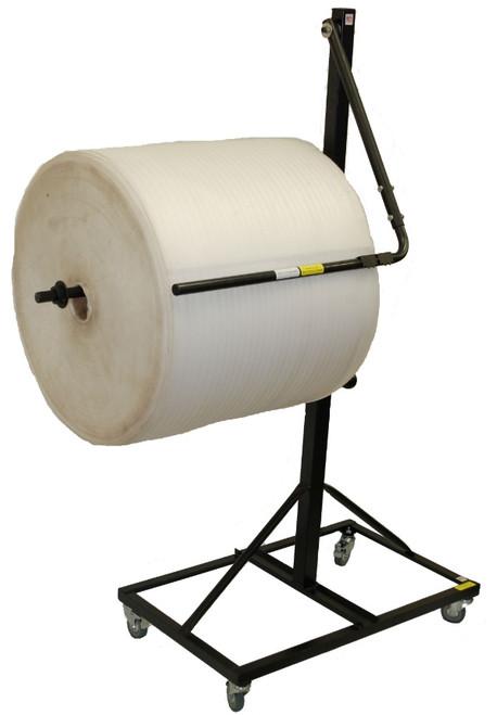 "36"" Telescoping Single Arm Bubble Wrap® Foam Roll & Protective Paper Floor Unit Dispenser w/ Casters & Tear Tag"