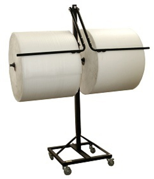 """36"""" Double Arm Floor Unit with Tear Tag, Brake System, and Telescoping for Packaging Material Rolls"""