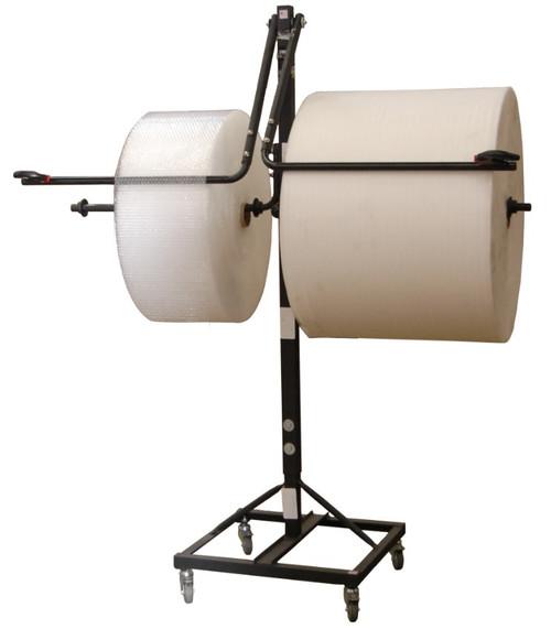 "24"" Telescoping Double Arm Bubble Wrap® Foam Roll & Protective Paper Floor Unit Dispenser w/ Casters & Slide Cutter"