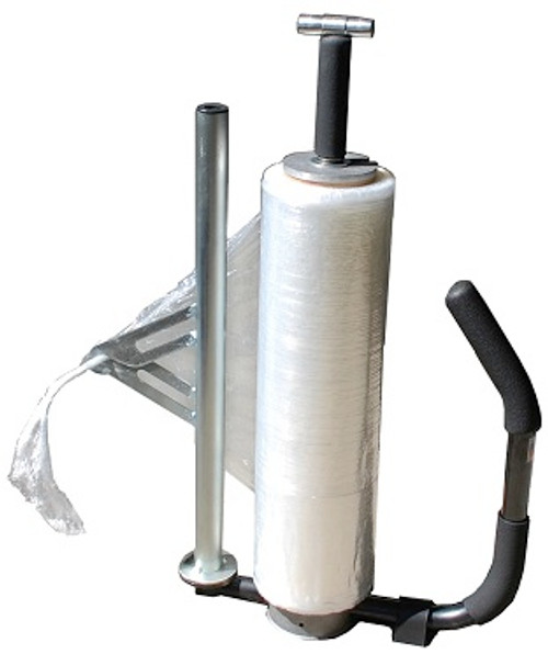 Stretch Wrap Roper Dispenser with T/Handle Armature Moves to use Roping Device