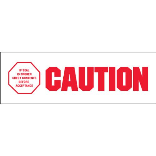 "Pre-Printed Carton Sealing Tape - ""Caution - If Seal Is Broke"""