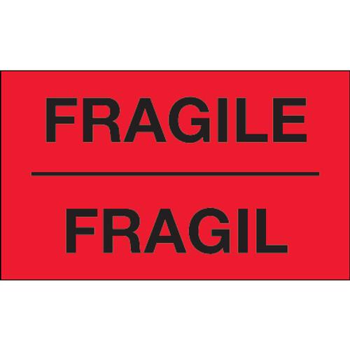 "3"" x 5"" - ""Fragil"" (Fluorescent Yellow) Bilingual Labels"