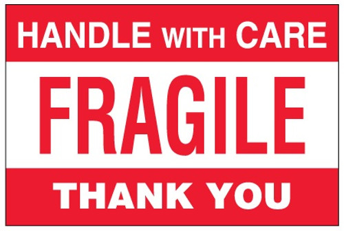 """""""Fragile - Handle With Care"""" Pallet Protection Shipping Labels"""