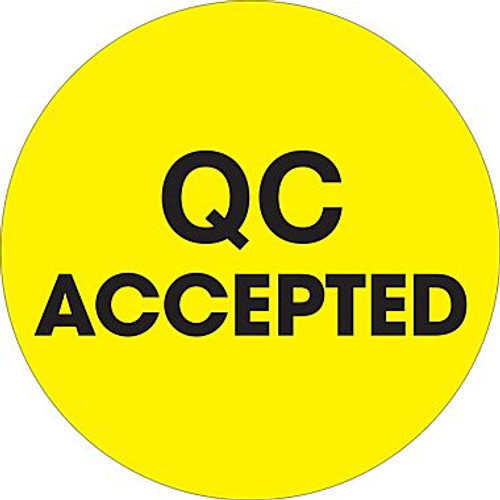 """2"""" Circle - """"QC Accepted"""" Fluorescent Yellow Pre-Printed Inventory Control Labels"""