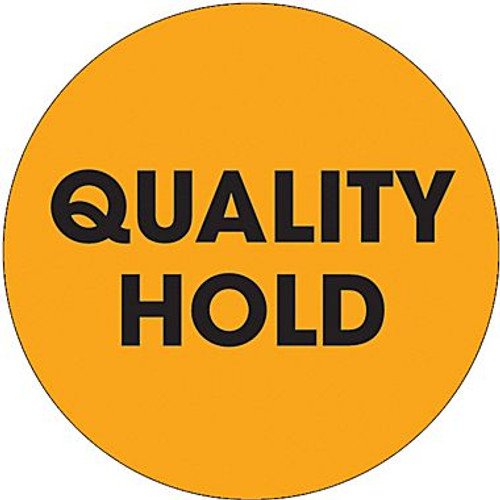 """2"""" Circle - """"Quality Hold"""" Fluorescent Orange Pre-Printed Inventory Control Labels"""