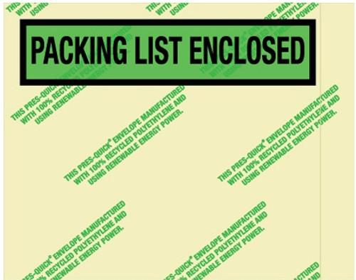 "7 "" x 5 1/2"" Environmental Packing List Enclosed Envelopes"