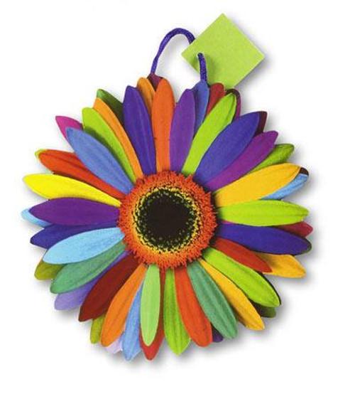 """10"""" x 11"""" x 4 1/2"""" Die Cut Flower Power Medium Die Cut Gift Bag"""
