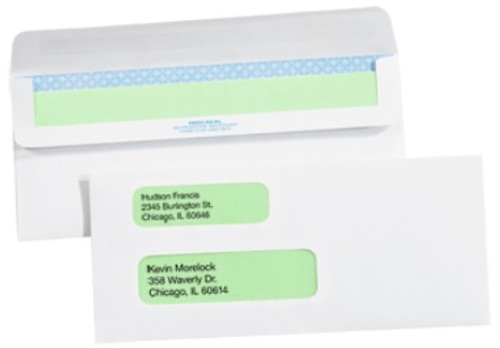 """3 7/8"""" x 8 7/8"""" - #9 Double Window Redi-Seal Business Envelopes with Security Tint"""