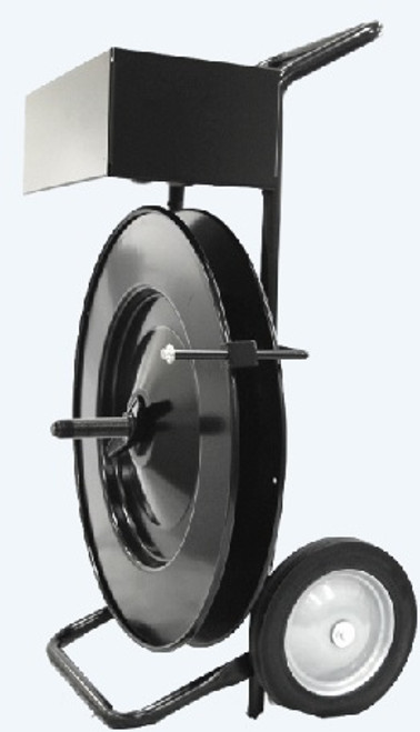 This Premium Cart makes Transporting large heavy rolls of Strapping, more Convenient.