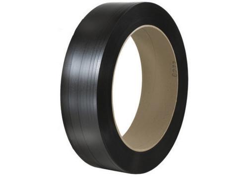 "5/8"" x 5400' - 16"" x 6"" Core Hand Grade Black Polypropylene Strapping - Embossed 820 lbs. Brake Strength"