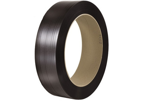 """5/8"""" x 2200' - 16"""" x 3"""" Core Black Polyester Strapping - Smooth 900 lbs. Break Strength"""