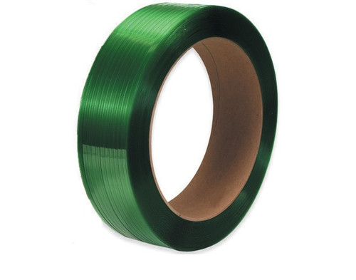 """5/8"""" x 2200' - 16"""" x 3"""" Core Green Polyester Strapping - Smooth 900 lbs. Break Strength"""