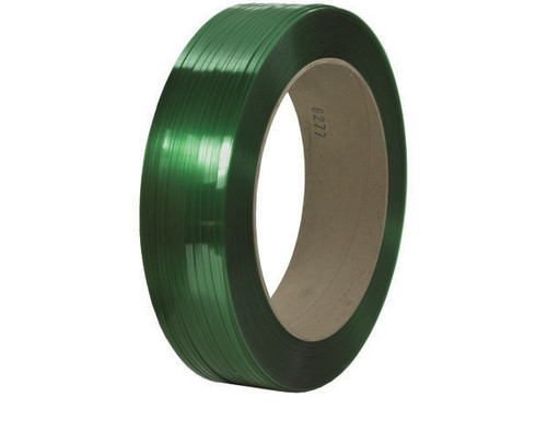 """1/2"""" x 9000' - 16"""" x 6"""" Core Signode® Comparable Green Polyester Strapping - Smooth 600 lbs. Break Strength"""