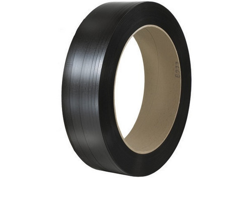 """5/8"""" x 3600' - 16"""" x 6"""" Core Black Polyester Strapping - Smooth 1100 lbs. Break Strength"""