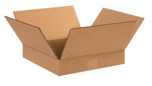 "12"" x 12"" x 2"" (ECT-32) Flat Kraft Corrugated Cardboard Shipping Boxes"