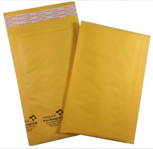 """FastPack Packaging Our Brand 4"""" x 8"""" #000 Kraft Self Seal Bubble Mailers Envelopes"""