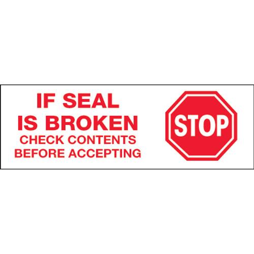 """Stop If Seal Is Broken"" Pre-Printed Carton Sealing Tape"