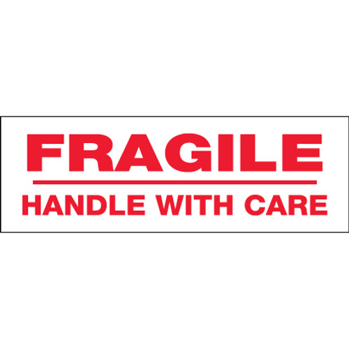 """Pre-Printed Carton Sealing Tape - """"Fragile Handle With Care"""""""