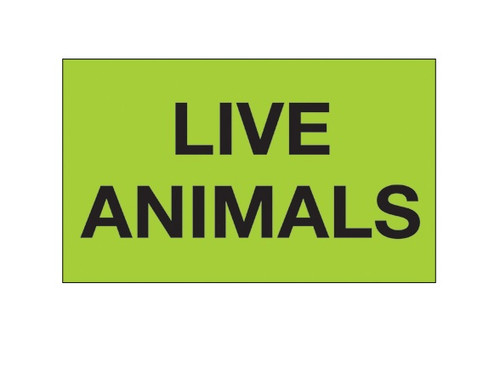 """""""Live Animals"""" (Fluorescent Green) Shipping and Handling Labels"""