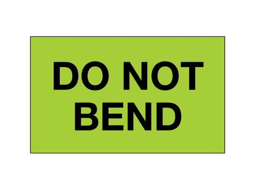 """""""Do Not Bend"""" (Fluorescent Green) Shipping and Handling Labels"""