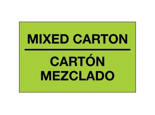 """Mixed Carton - Carton Mezclado"" (Fluorescent Green) Shipping and Handling Labels"