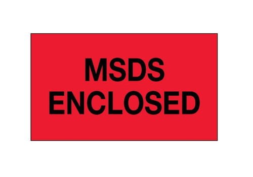 """""""MSDS Enclosed"""" (Fluorescent Red) Labels Shipping and Handling Labels"""