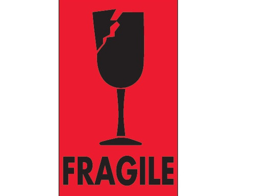 """""""Fragile"""" (Fluorescent Red) Labels Shipping and Handling Labels"""