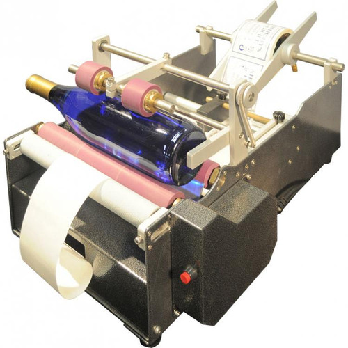 Economical Semi-Automatic Label Applicator for Bottles and Cylindrical Products.
