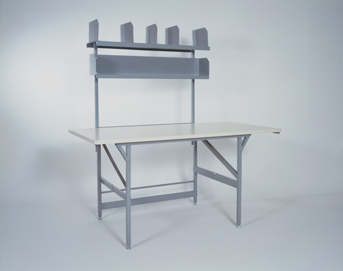 Includes two storage shelves, 1 with dividers.