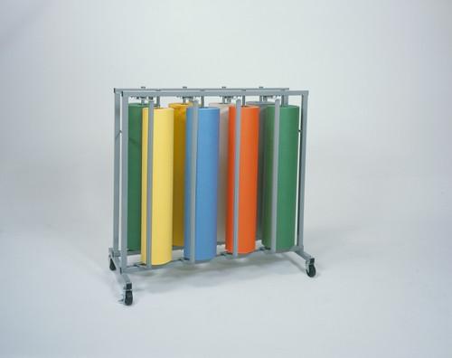 Vertical Paper Roll Rack Storage Dispenser and Cutter - Holds 8 rolls - Bulletin Board Paper Holder