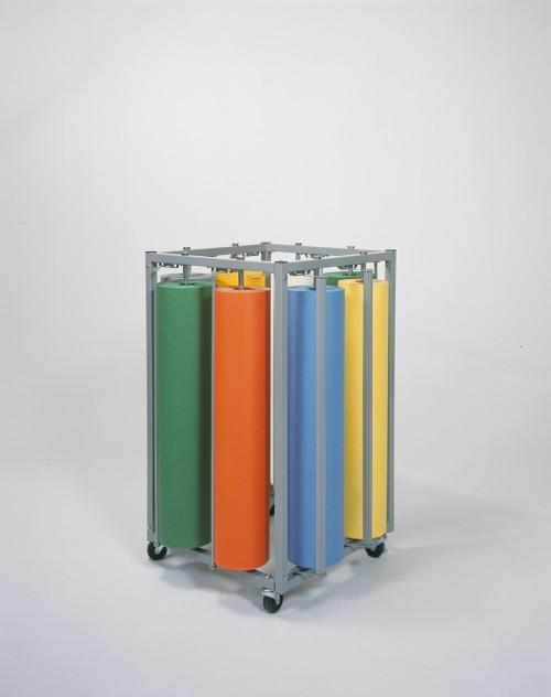 4 Sided Vertical Paper Roll Rack Storage Dispenser and Cutter - Holds 8 rolls - Bulletin Board Paper Holder