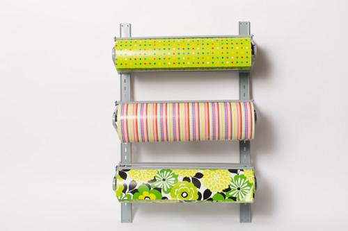 Three Roll Wall Rack Retail Packaging Paper Roll Cutter Dispenser
