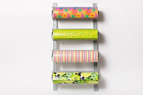 Four Roll Wall Rack Retail Packaging Paper Roll Cutter Dispenser
