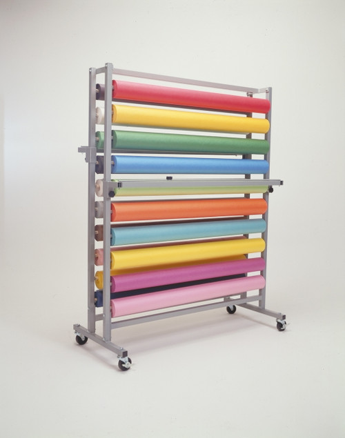 Art Paper Roll Rack Stores, Dispenses, and Cuts 20 Rolls of Paper