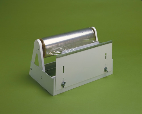 This Plastic Wrap Dispenser is constructed of cold rolled steel finished in a white epoxy powder coat.