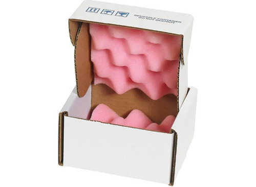 """5"""" x 5"""" x 3"""" Convoluted Anti-Static / Shock Absorbing Foam Lined Shipping Boxes"""