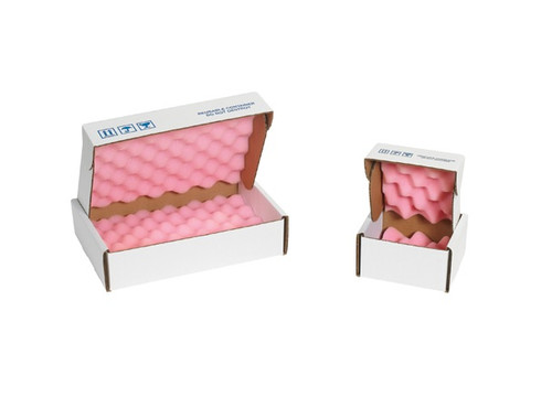 """8"""" x 8"""" x 2 3/4"""" Convoluted Anti-Static / Shock Absorbing Foam Lined Shipping Boxes"""