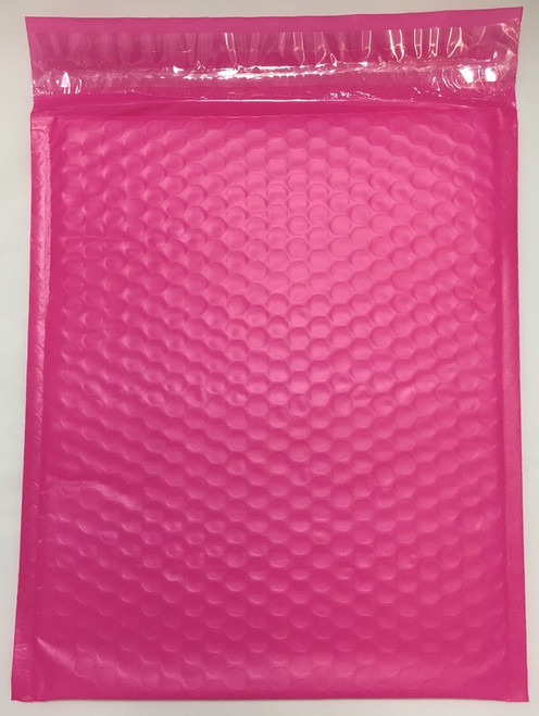 """10.5"""" x 15"""" (100 Qty) #5  Pink Poly Bubble Mailers with Peel and Seal Self Seal Closure"""