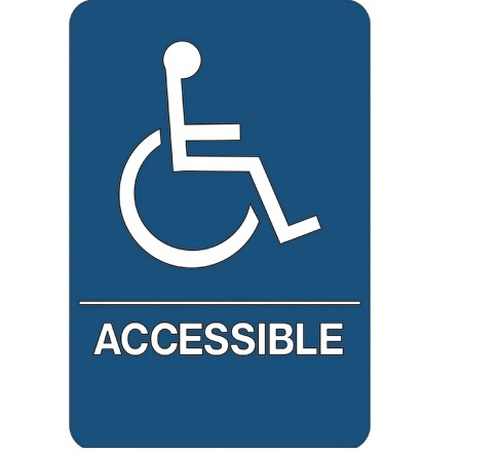 """9"""" x 6"""" """"Wheelchair Accessible"""" Universal ADA Compliant Signage and Graphics"""