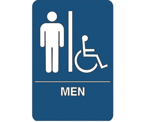 """9"""" x 6"""" """"Men/Accessible"""" Universal ADA Compliant Signage and Graphics"""