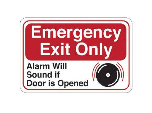"""6"""" x 9"""" """"Emergency Exit Only..."""" Universal Instructional Facility Sign and Graphics"""