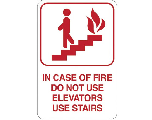 """9"""" x 6"""" """"IN CASE OF FIRE…"""" Universal Instructional Facility Sign and Graphics"""