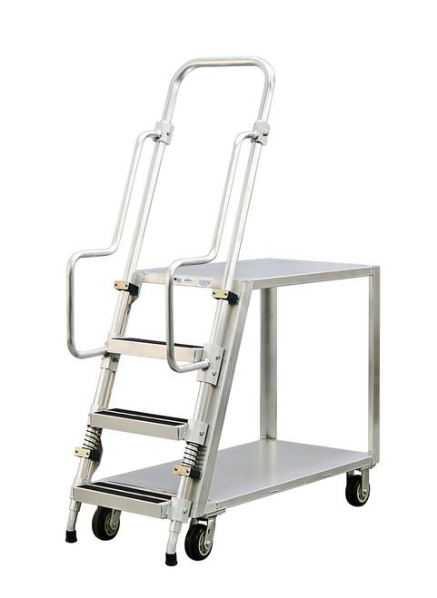 Step Ladder Stocking & Picking Cart for Warehouse, Fulfillment - 2 Flat Top Shelves