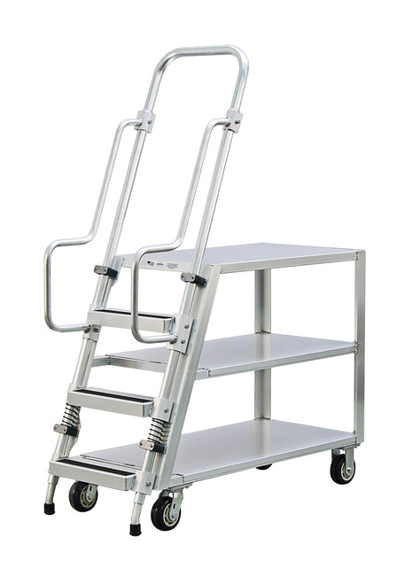 Step Ladder Stocking & Picking Cart for Warehouse, Fulfillment - 3 Flat Top Shelves