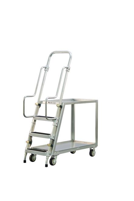 Step Ladder Stocking & Picking Cart for Warehouse, Fulfillment - 2 Lip Up Shelves
