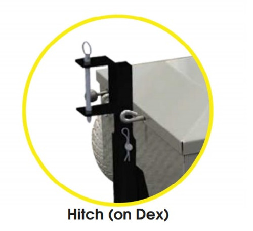 The hitch can be attached to the Amigo Dex (YAMIGODEX) and has a tow capacity of 750 lbs.