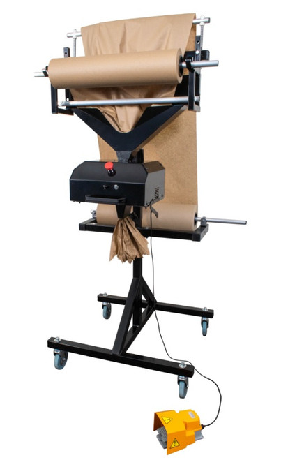A/C  Feed Semi-Automatic, Manual Cutting, Paper Crumpler, Void Fill Dispensing System. Converts Kraft paper into protective cushioning and void fill.