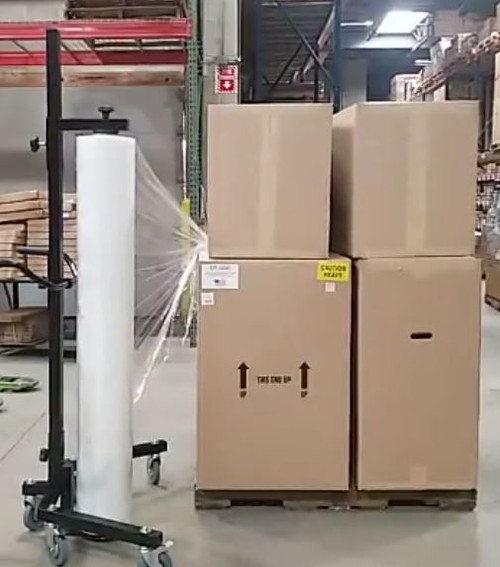 Full Pallet Stretch Wrap Dispenser - Mobile Pallet Wrapper w/ Casters