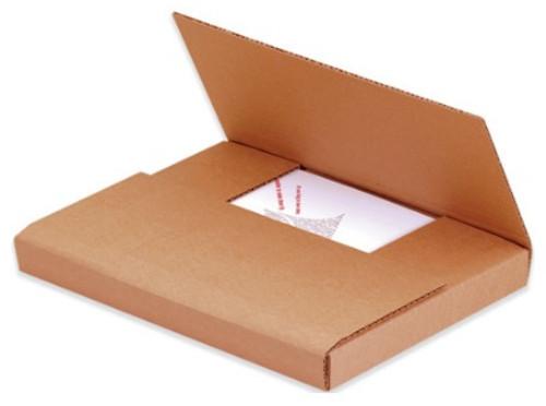 "9 1/2 x 6 1/2 x 2"" (200#/ECT-32-B) Kraft Corrugated Cardboard Easy-Fold Mailers"